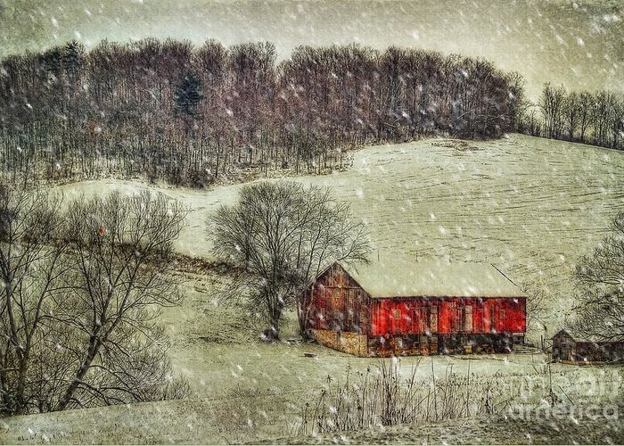 Red Barn Greeting Card featuring the photograph Circa 1855 by Lois Bryan