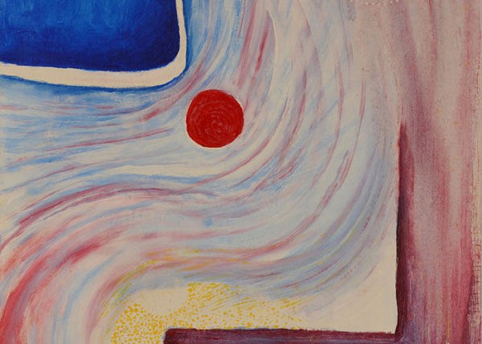 Abstract Greeting Card featuring the painting Circle and Corner by David Douthat