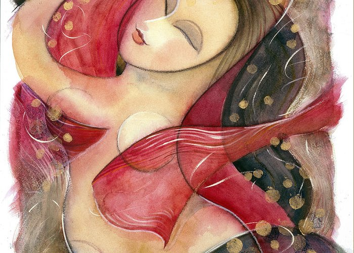 Jen Norton Greeting Card featuring the painting Circle Dancer by Jen Norton