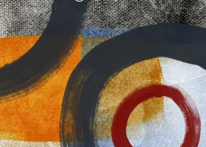 Circles Greeting Card featuring the painting Circles 3 by Linda Woods