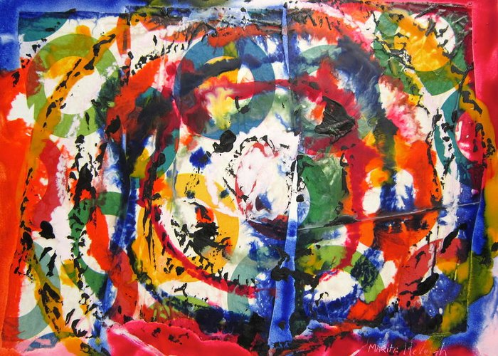 Abstract Greeting Card featuring the painting Circles by Marita McVeigh