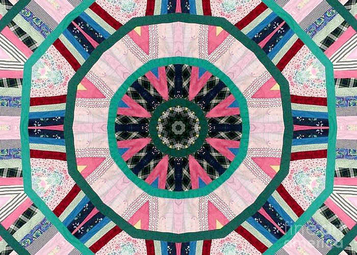 Patchwork Greeting Card featuring the photograph Circular Patchwork Art by Barbara Griffin