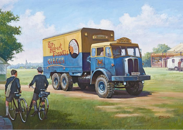 Art For Investment Greeting Card featuring the painting Circus Truck by Mike Jeffries