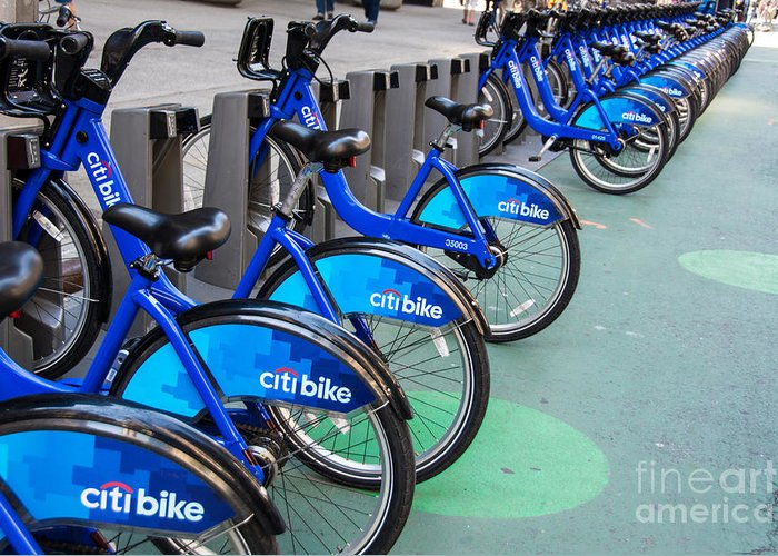 Bicycle Greeting Card featuring the photograph Citibike Rentals Nyc by Amy Cicconi