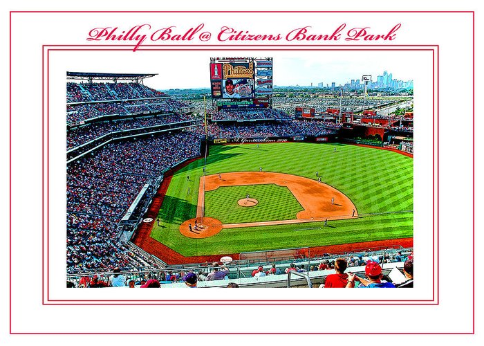 Citizens Bank Park Greeting Card featuring the photograph Citizens Bank Park Phillies Baseball Poster Image by A Gurmankin