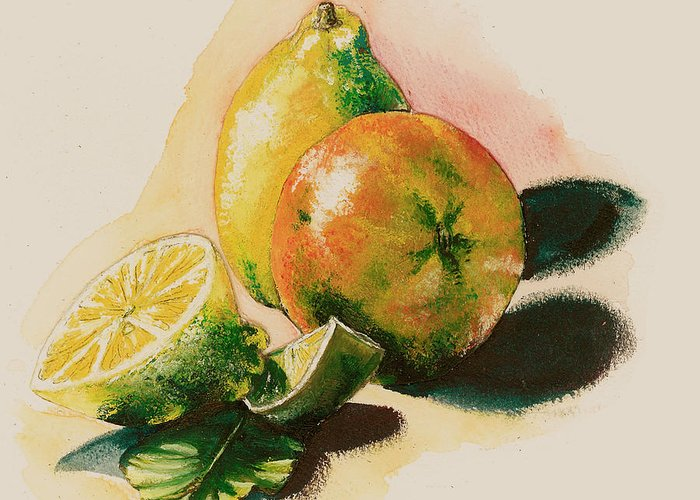 Light Greeting Card featuring the painting Citrus Under The Sun Light by Alessandra Andrisani