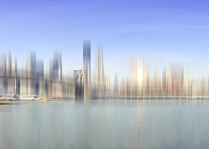 Distance Greeting Card featuring the photograph City-art Manhattan Skyline I by Melanie Viola