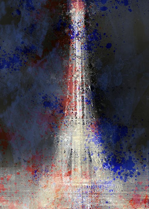 Europe Greeting Card featuring the photograph City-art Paris Eiffel Tower In National Colours by Melanie Viola