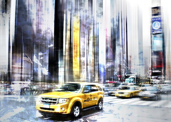 Big Apple Greeting Card featuring the photograph City-art Times Square II by Melanie Viola