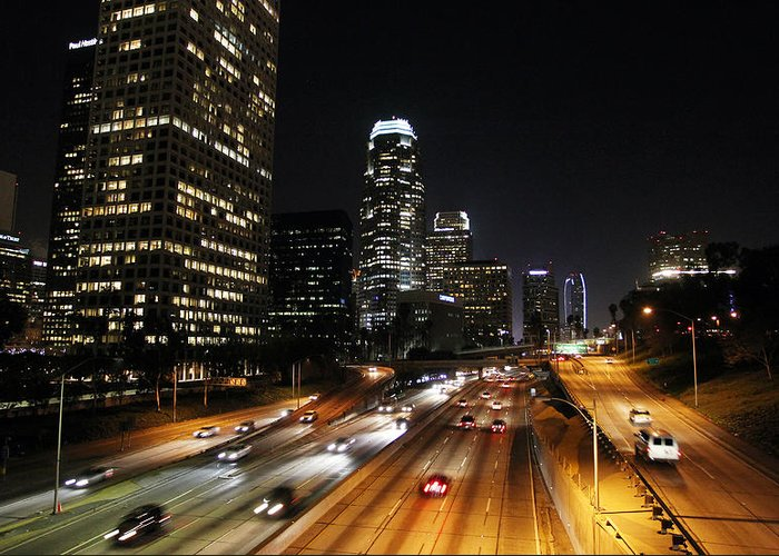 Los Angeles Greeting Card featuring the photograph City At Night - Los Angeles by David Buchan
