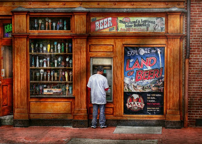 Baltimore Greeting Card featuring the photograph City - Baltimore Md - Explore The Land Of Beer by Mike Savad