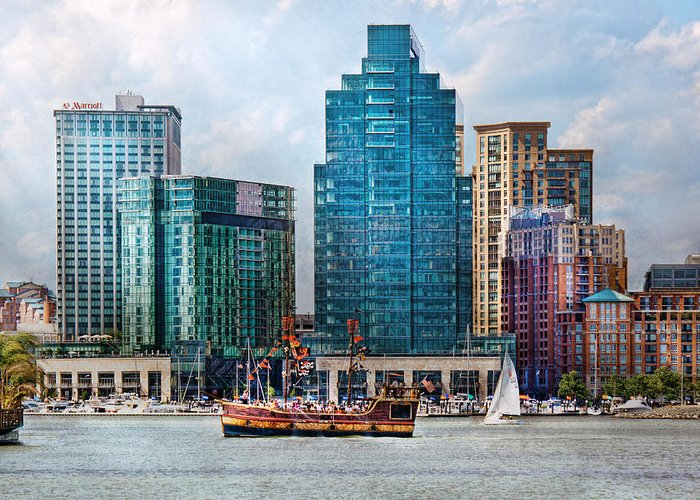 Maryland Greeting Card featuring the photograph City - Baltimore Md - Harbor East by Mike Savad