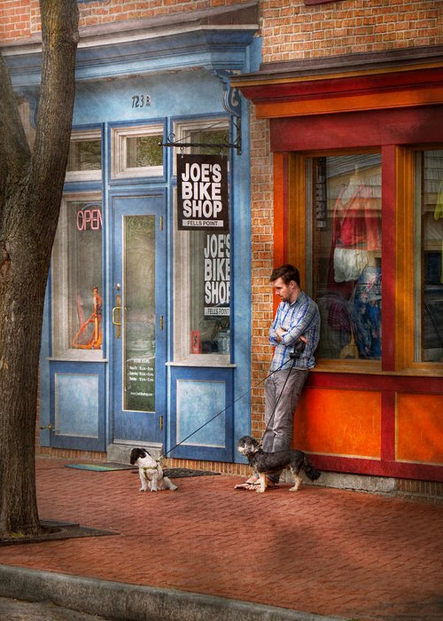 Baltimore Greeting Card featuring the photograph City - Baltimore Md - Waiting By Joe's Bike Shop by Mike Savad