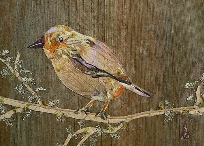 Sparrow Greeting Card featuring the mixed media City Bird by Basant Soni