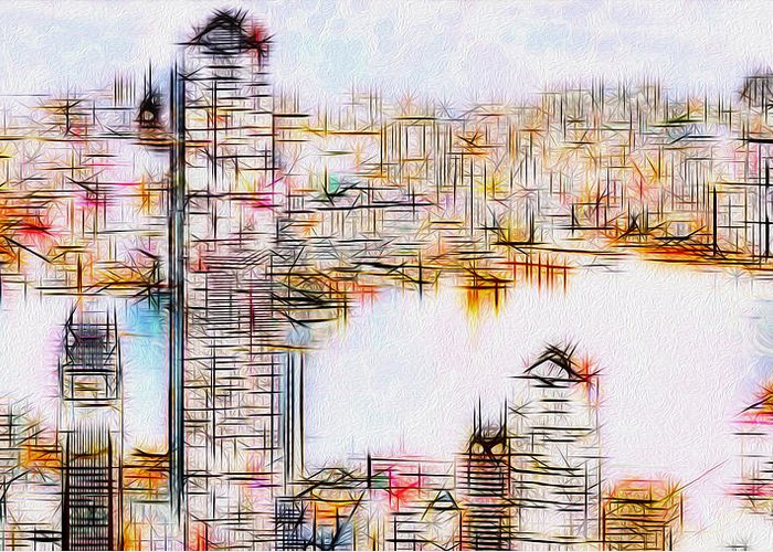 City Greeting Card featuring the painting City By The Bay by Jack Zulli