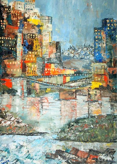 Cityscape Greeting Card featuring the painting City By The River - Sold by Judith Espinoza