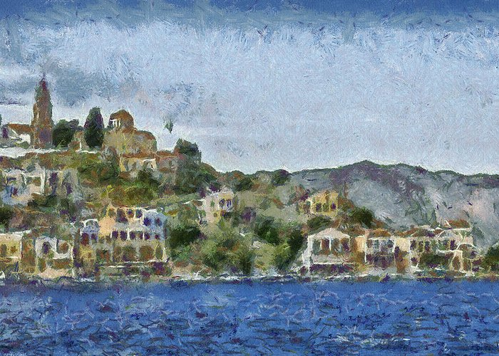 Town Greeting Card featuring the painting City By The Sea by Ayse and Deniz
