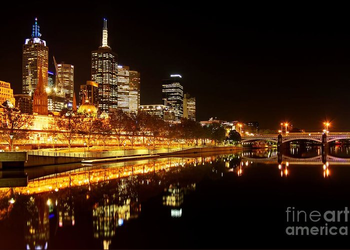 Melbourne Greeting Card featuring the photograph City Glow by Andrew Paranavitana