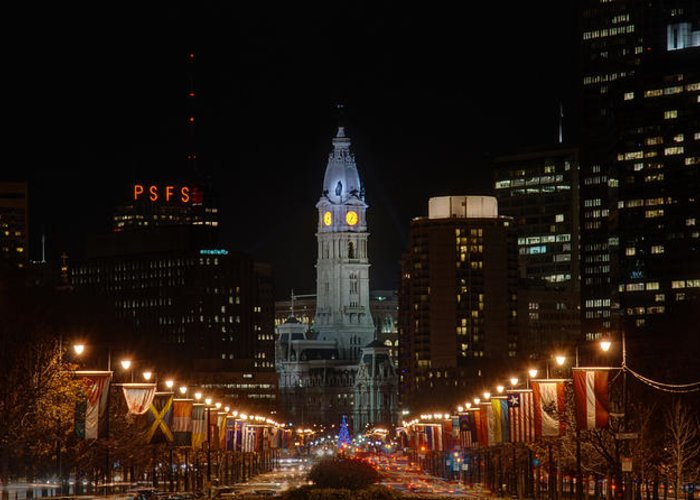 Philadelphia Greeting Card featuring the photograph City Hall At Night by Jennifer Ancker