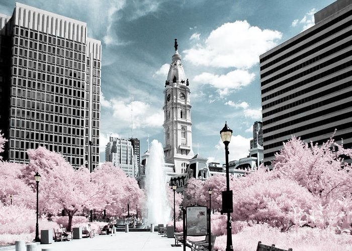 Philadelphia Greeting Card featuring the photograph City Hall In Spring by Stacey Granger