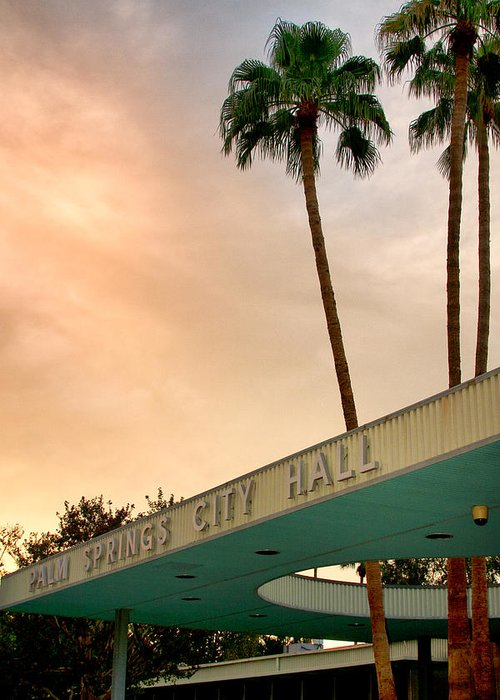 Palm Springs Greeting Card featuring the photograph City Hall Sky Palm Springs City Hall by William Dey