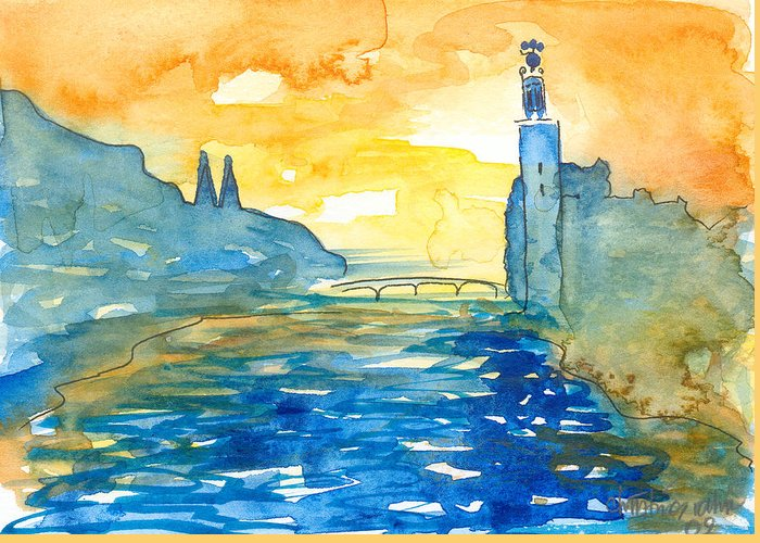Landscape Greeting Card featuring the painting City Hall Stockholm by Christina Rahm Galanis