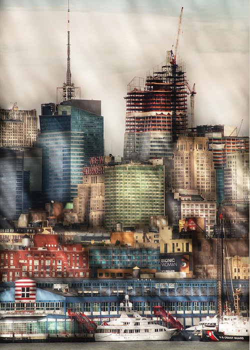 Savad Greeting Card featuring the photograph City - Hoboken Nj - New York Skyscrapers by Mike Savad