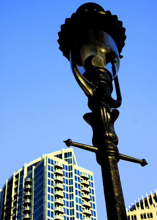 Lamp Post Greeting Card featuring the photograph City Lamp Post by Karol Livote