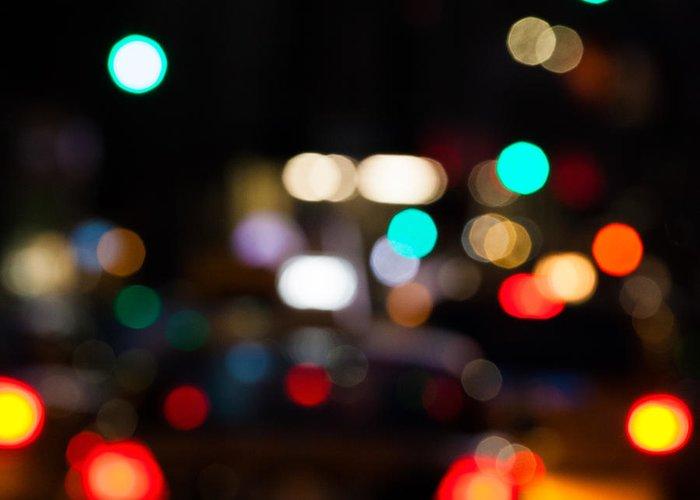 Bokeh Greeting Card featuring the photograph City Lights by John Farnan