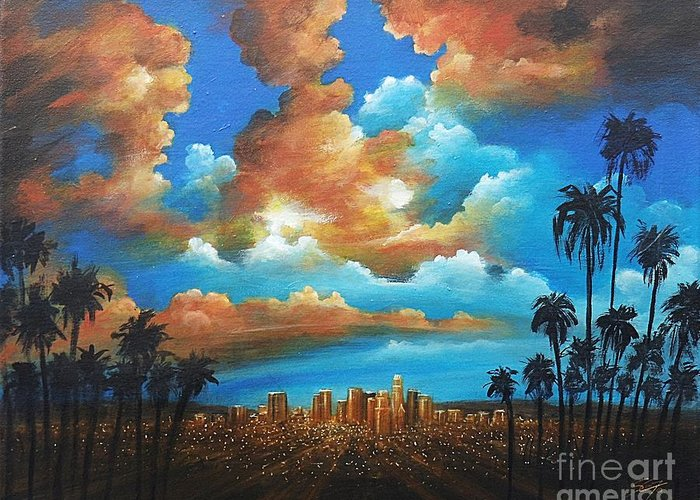 Acrylics Greeting Card featuring the painting City of Angels by - Artificium -