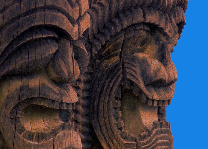 Tiki Greeting Card featuring the photograph City Of Refuge Tiki Gods by Lori Seaman