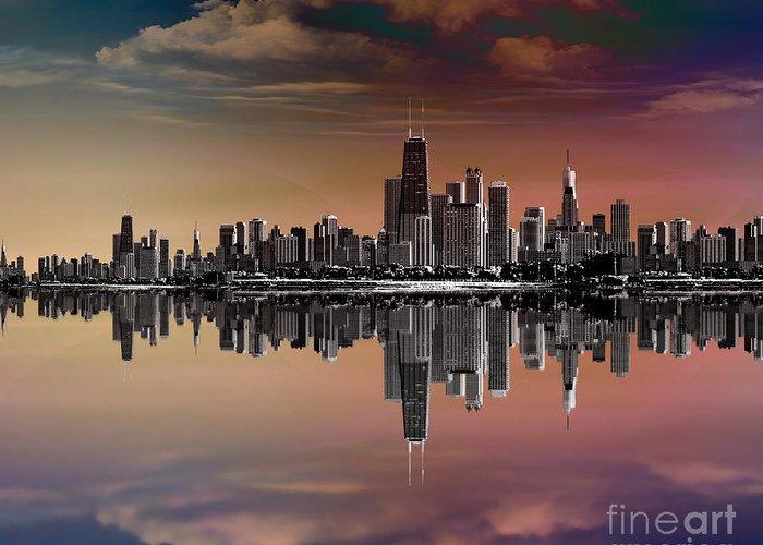City Greeting Card featuring the digital art City Skyline Dusk by Bedros Awak