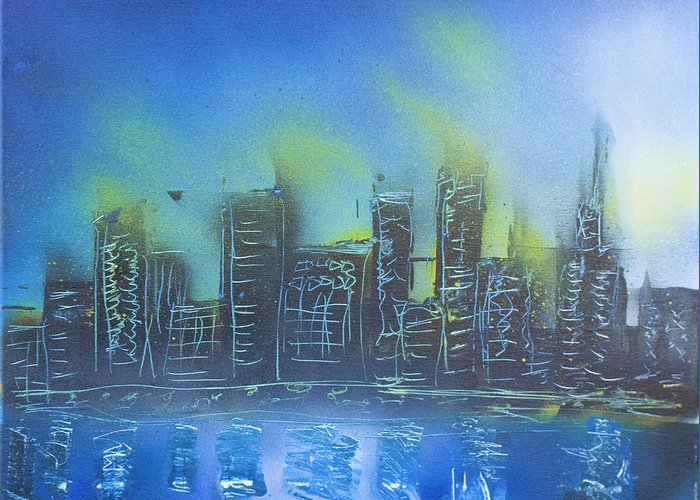 City Greeting Card featuring the painting City Spray II by Kevin McQuade