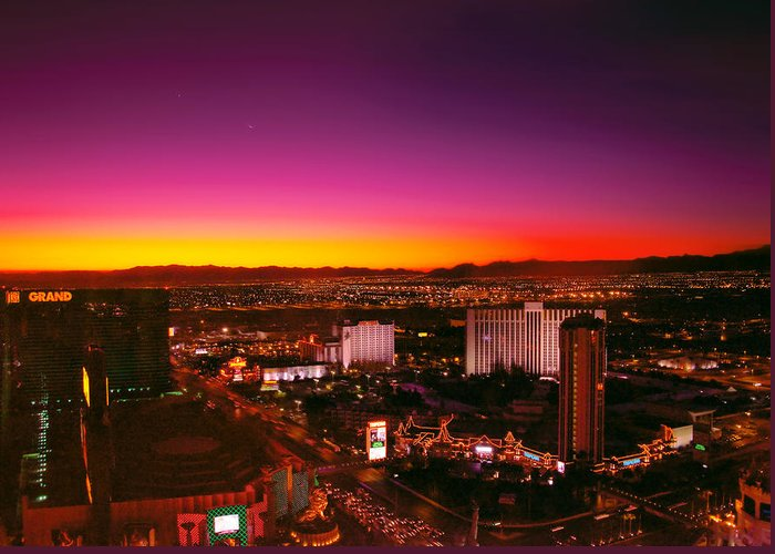 Savad Greeting Card featuring the photograph City - Vegas - Ny - Sunrise Over The City by Mike Savad