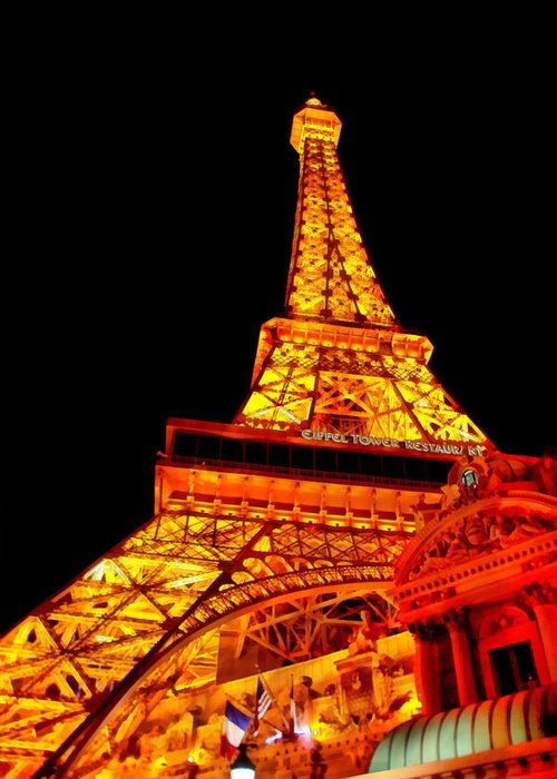 Savad Greeting Card featuring the digital art City - Vegas - Paris - Eiffel Tower Restaurant by Mike Savad