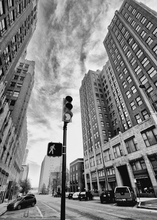 Black And White Greeting Card featuring the photograph City Walk by Tera Bunney