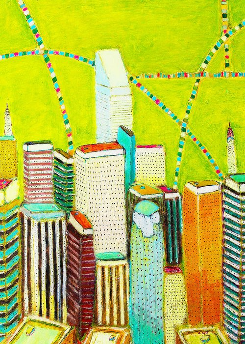 New York City Greeting Card featuring the painting City With Green by Habib Ayat