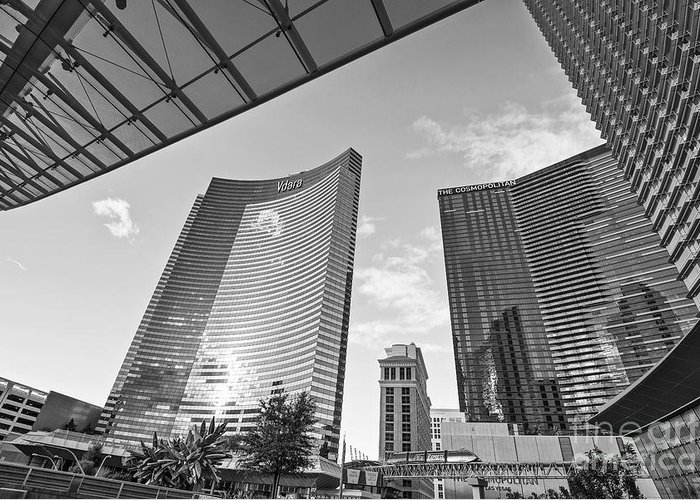 Vdara Hotel And Spa Greeting Card featuring the photograph Citycenter - View Of The Vdara Hotel And Spa Located In Citycenter In Las Vegas by Jamie Pham