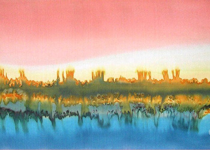 Painting Greeting Card featuring the painting Citylights by Addie Hocynec