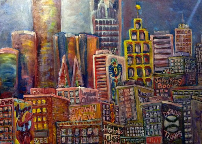 Greeting Card featuring the painting Cityscape 9 by Don Thibodeaux