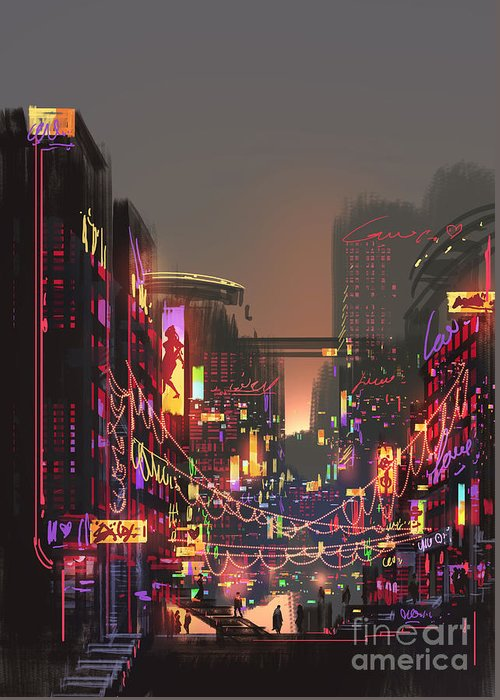 Decorate Greeting Card featuring the digital art Cityscape Digital Painting Of Building by Tithi Luadthong