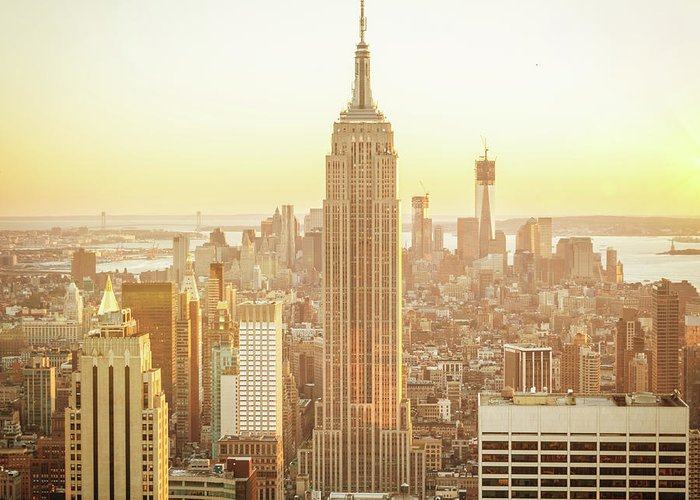 Scenics Greeting Card featuring the photograph Cityscape Manhattan Sunset New York by Mlenny