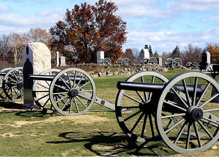 Gettysburg Greeting Card featuring the photograph Civil War Cannons At Gettysburg National Battlefield by Brendan Reals