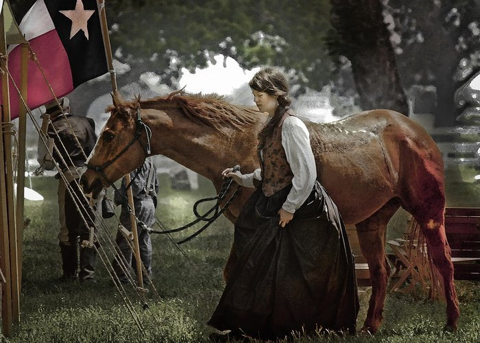 Horse Greeting Card featuring the photograph Civil War Re-Enactment Camp by Jim Painter