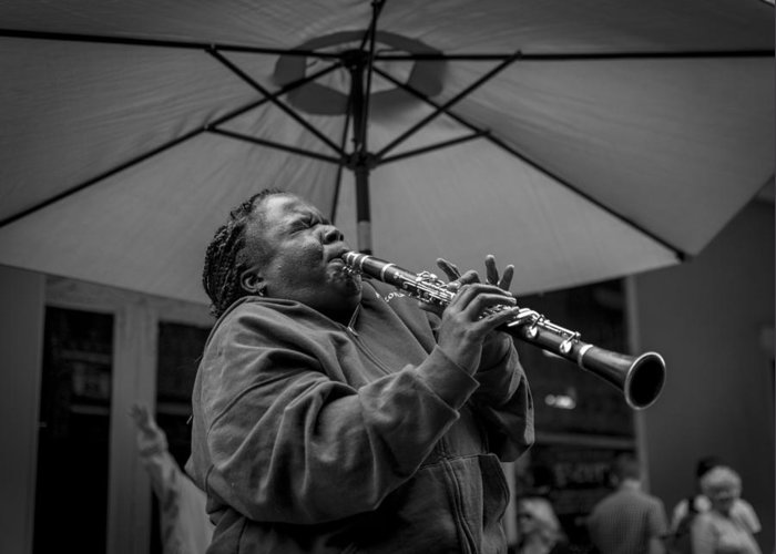 Jazz In The Streest Of New Orleans Greeting Card featuring the photograph Clarinet Player In New Orleans by David Morefield