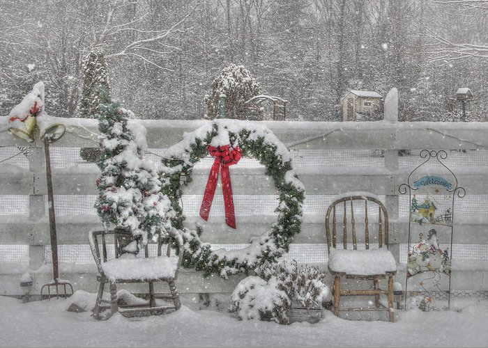 Fence Greeting Card featuring the photograph Clarks Valley Christmas 3 by Lori Deiter