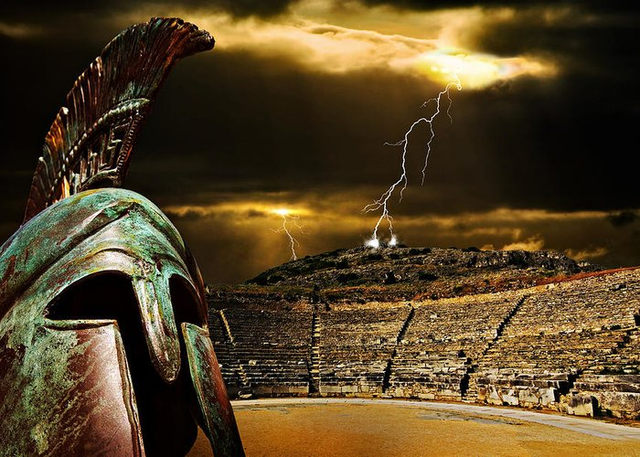 Greece Greeting Card featuring the photograph Clash Of The Titans by Meirion Matthias