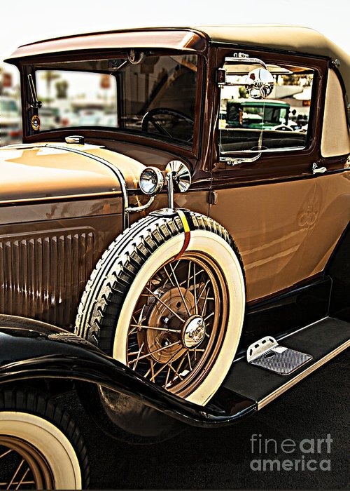 Classic 1928 Ford Model A Sport Coupe Convertible Automobile Car Fine Art Photography Print Greeting Card featuring the photograph Classic 1928 Ford Model A Sport Coupe Convertible Automobile Car by Jerry Cowart
