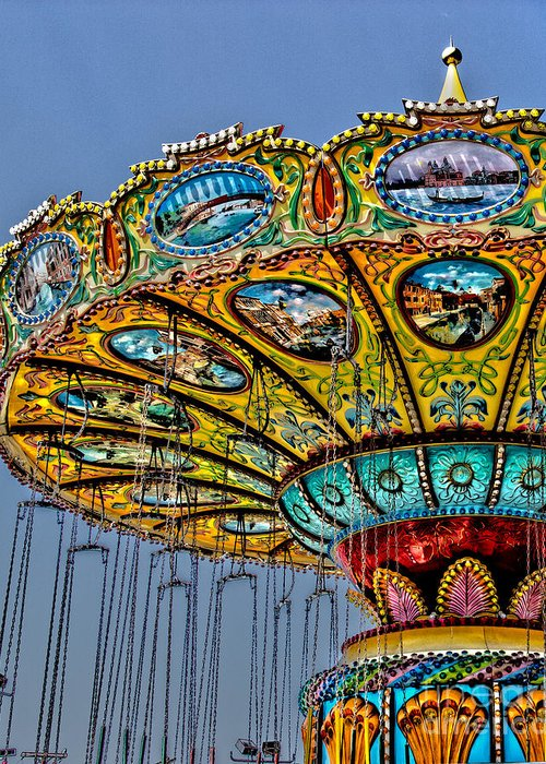 Ocean City Greeting Card featuring the photograph Classic Amusement Swing by Tom Gari Gallery-Three-Photography