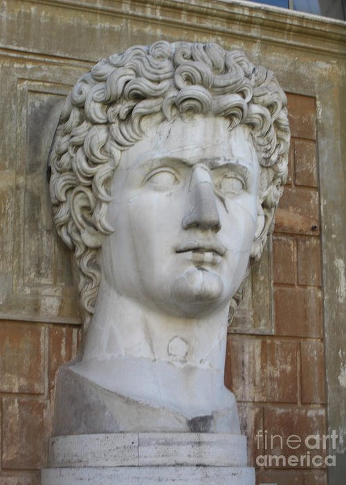 Classic Roman Noble Bust Greeting Card featuring the photograph Classic Roman Noble by Deborah Smolinske